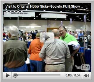 "Click to view ""Visit to Original Hobo Nickel Society FUN Show Bourse Table"" YouTube video."